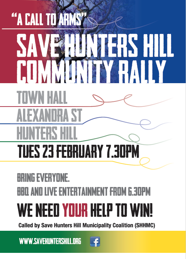SHHMC Hunters Hill Rally Poster email Feb 16