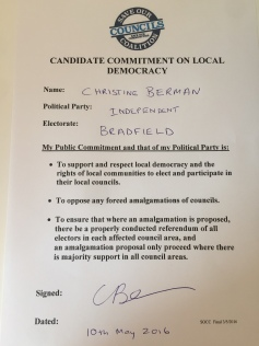 SOCC Pledge Candidate Christine Berman signed Independent Bradfield 10 May 16 copy