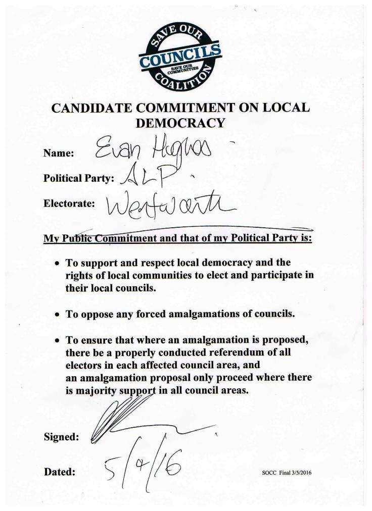 SOCC Pledge Candidate Evan Hughes signed Labor Wentworth 5 May 16