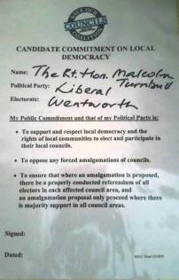 SOCC Pledge Candidate Malcolm Turnbull NOT signed Liberal Wentworth 5 May 16