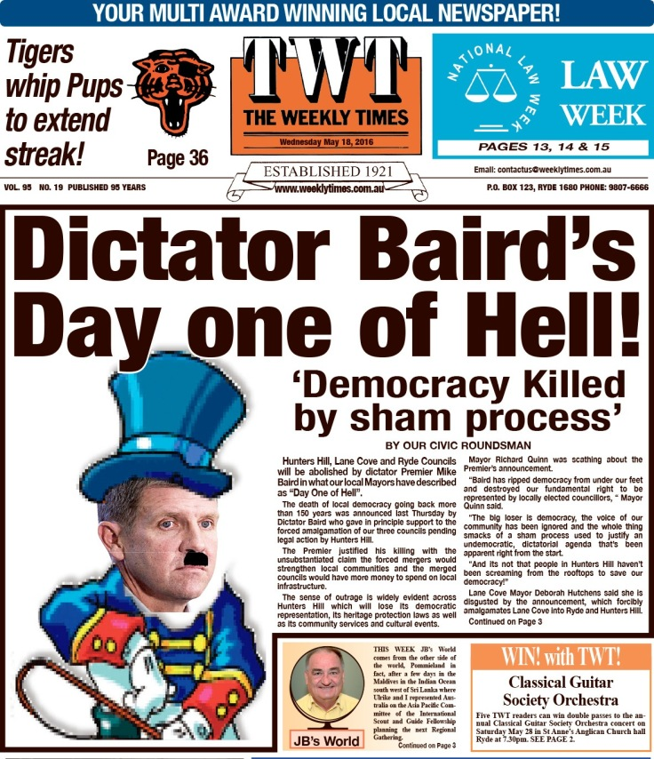 SHHMC Dictator Baird's Day One of Hell TWT 18 May 16