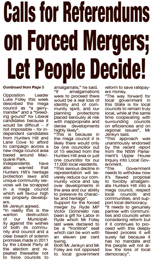 SHHMC Locals Demand Referendum on Mergers TWT p18 9 March 16