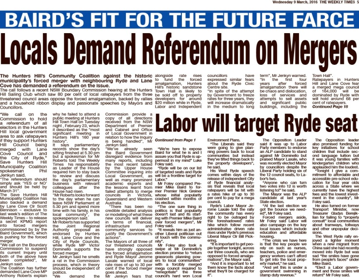 SHHMC Locals Demand Referendum on Mergers TWT p5 9 March 16