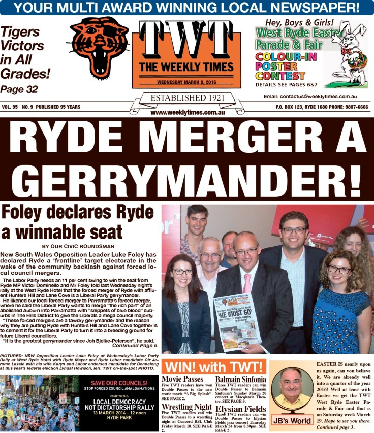 SHHMC Ryde Merger a Gerrymander! TWT 9 March 16